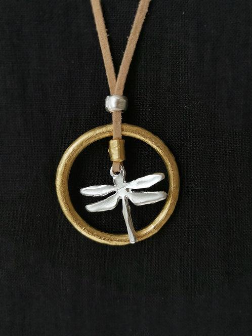 Kleine Libellen-Kette mit goldenen Rand