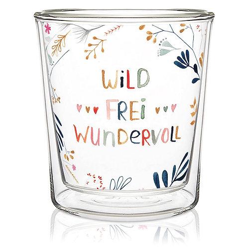 """Doppelwandige Tasse """"Wild, frei und wundervoll"""" MITTEL"""