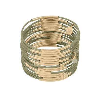 Sence - Lederarmband Grün-Gold (Z706)