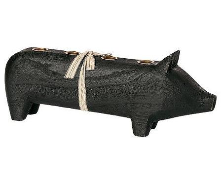 Maileg - Großes Holzschwein - Schwarz