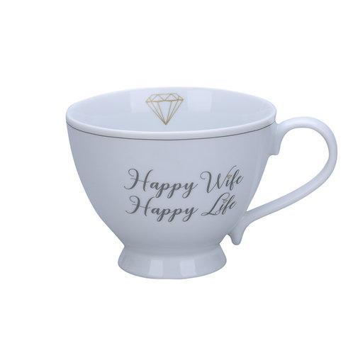 """Henkeltasse  """"Happy wife - happy life"""" von Krasilninikoff"""