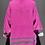 Thumbnail: Kuschelige Strickjacke in Neon-Pink mit grauen Streifen