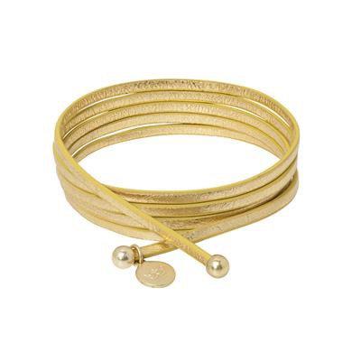 Sence - Gold Lederarmband mit goldenen Kugeln