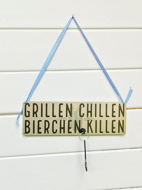 Schild mit Magnethaken & Flaschenöffner - Grillen, chillen, Bierchen killen.