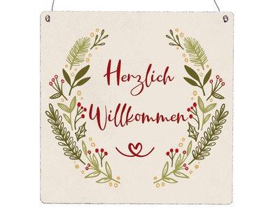 """Schild """"Herzlich Willkommen ..."""""""