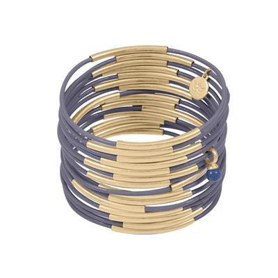Sence - Lederarmband Lila-Gold (Z704)