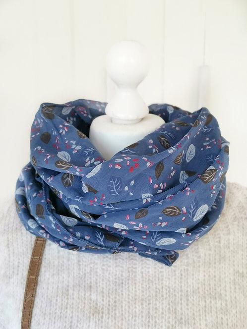 Halstuch - Blau mit Blättern