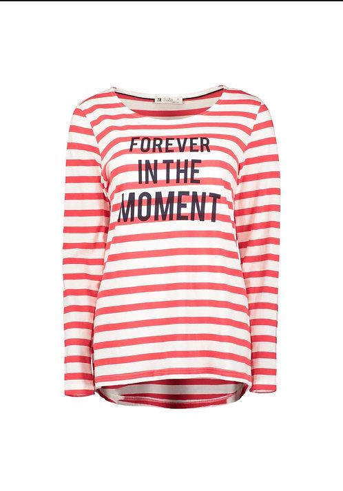Suza - Rot-Weiß geringeltes Shirt mit Aufdruck