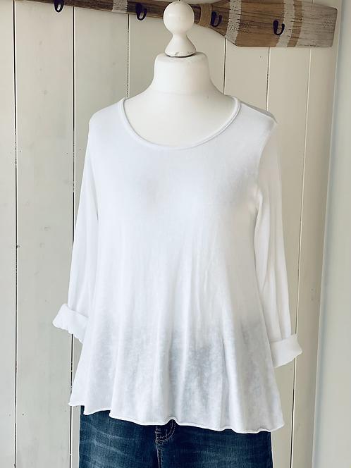 Shirt mit Kellerfalte - Weiß