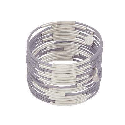 Sence - Lederarmband Lila-Silber (Z703)