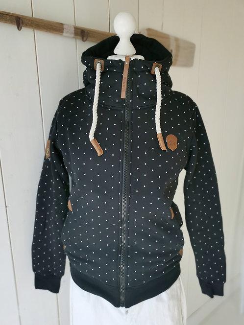 Kuschelige Sweatshirtjacke mit Punkten - Schwarz