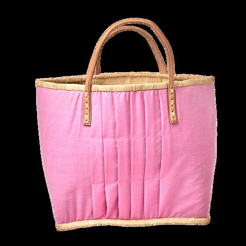 Rice - Einkaufskorb, Rosa mit weißen Pünktchen - Groß