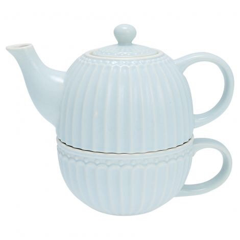 "Greengate Teetasse mit Kanne ""Tea for one"" - Alice Pale blue"