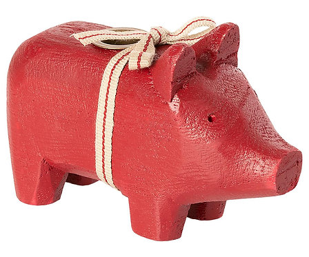 Maileg - Kleines Holzschwein - Rot