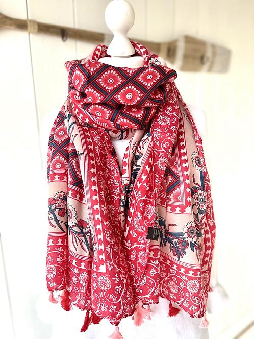 Wunderschönes Tuch - Rot mit rosa Rand und Quasten