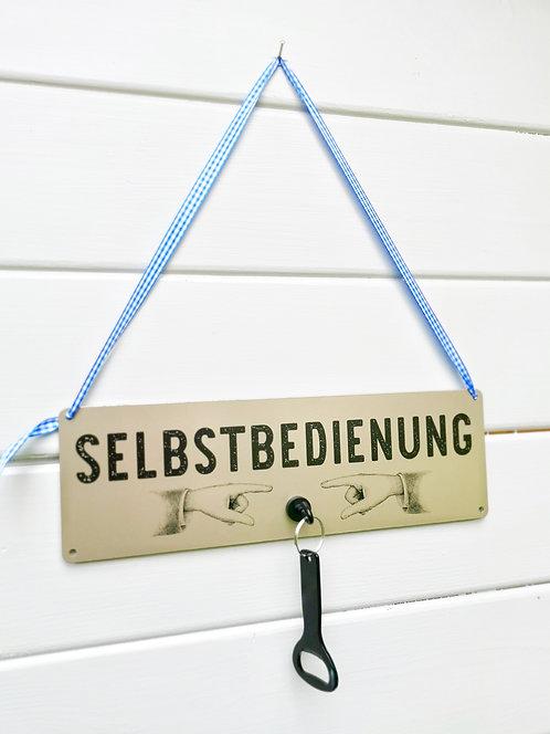 Schild mit Magnethaken & Flaschenöffner - Selbstbedienung