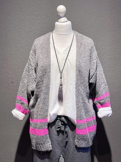 Kuschelige Strickjacke in Mittelgrau Neon-Rosa Streifen