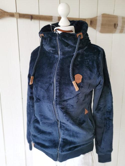 Kuschelige Fleece-Sweatshirtjacke - Blau