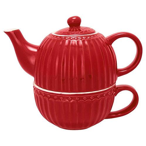 "Greengate Teetasse mit Kanne ""Tea for one"" - Alice Red"