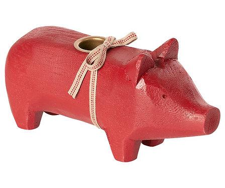 Maileg - Mittleres Holzschwein - Rot