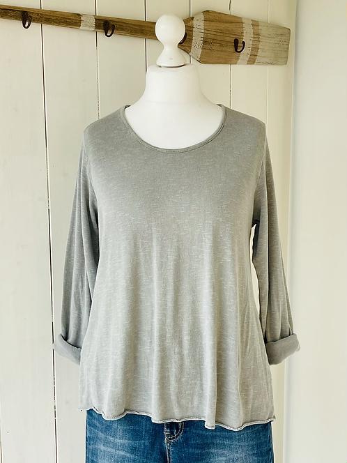 Shirt mit Kellerfalte - Grau