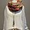 Thumbnail: Zwillingsherz - Tuch mit Braun-Tönen und orangen Streifen