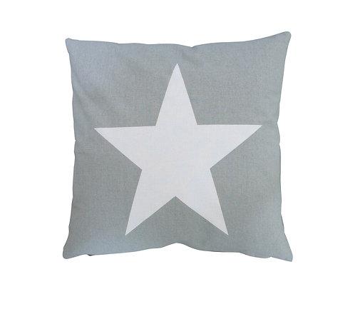 Kissen-Hülle grau mit weißen Stern von Krasilnikoff
