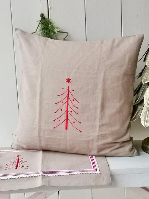 Artefina Weihnachtskissen-Bezug - Mit roten Tannenbaum