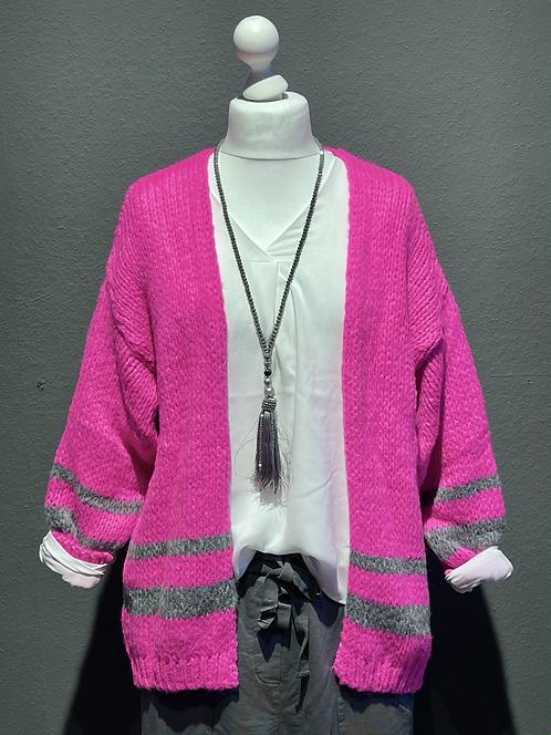 Kuschelige Strickjacke in Neon-Pink mit grauen Streifen