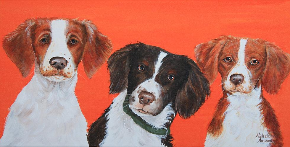 """Brittany Trio"" Original acrylic painting"