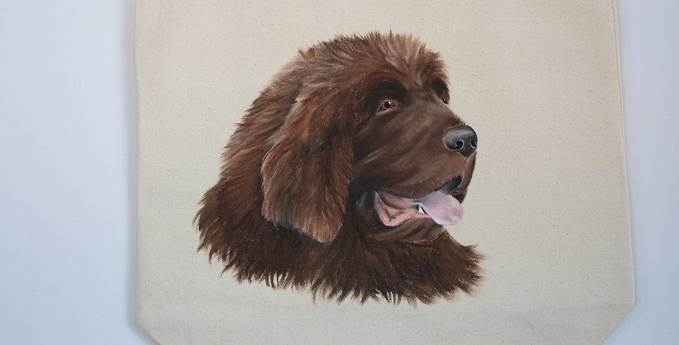 Newfoundland Canvas Tote Bag (Brown Portrait)