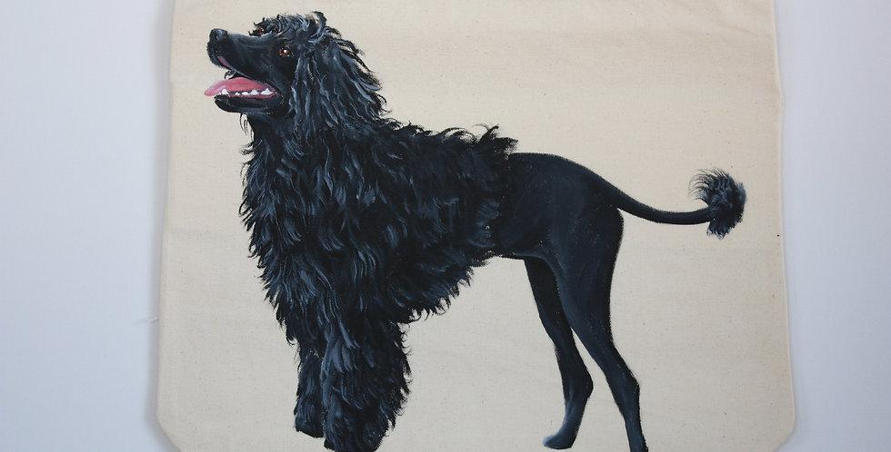 Portuguese Water Dog Canvas Tote Bag (Black full body)