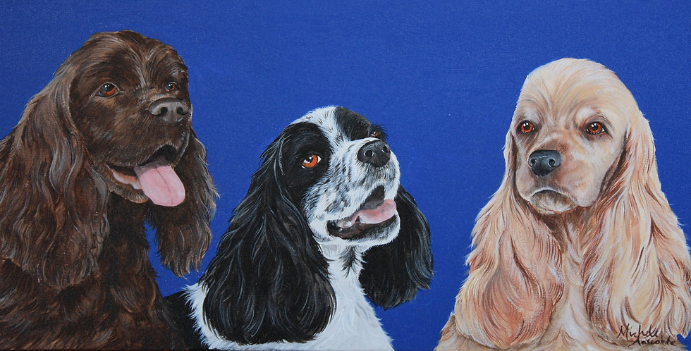 """Cocker Spaniel Trio"" Original acrylic painting"