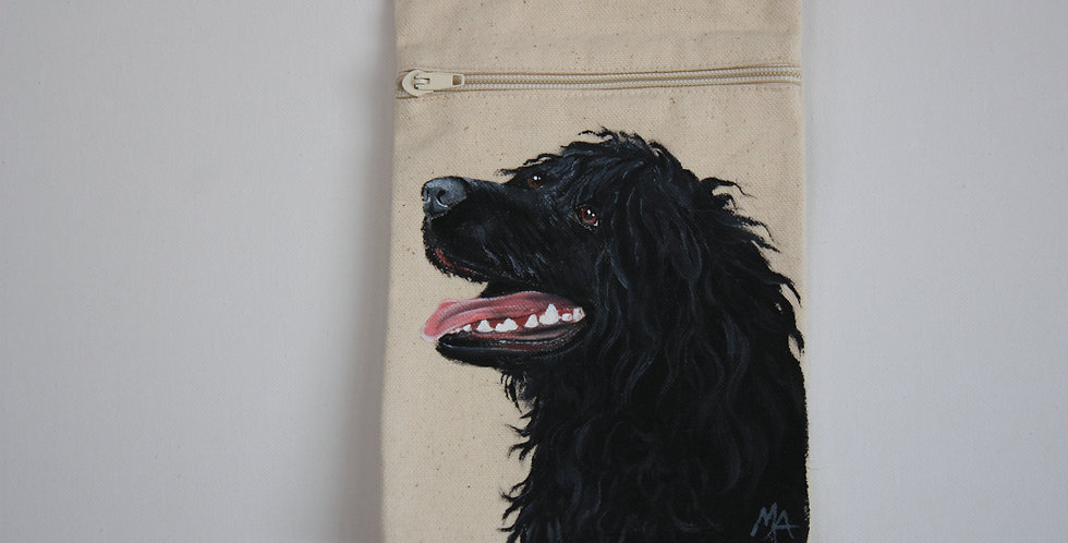 Portuguese Water Dog Canvas Pouch (Black )
