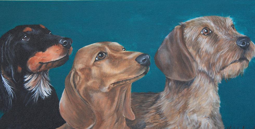 """""""Dachshund Trio"""" Original acrylic painting"""