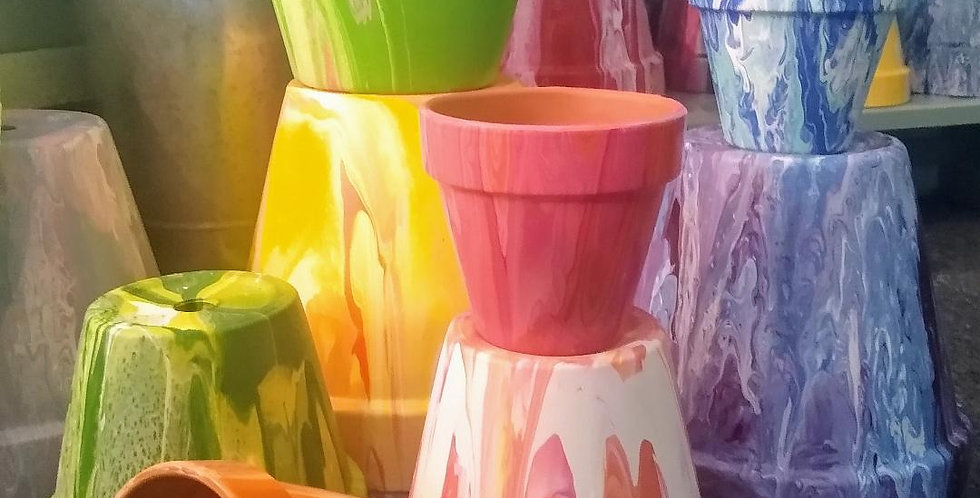 Paint Poured Clay Pots May 15th