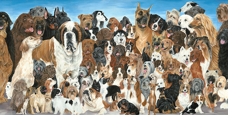 "10x24 Framed ""Dog Show"" giclee print on archival paper"