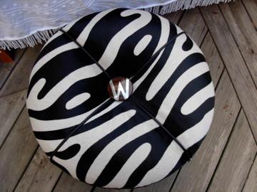 Custom zebra ottoman