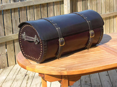 Rounded leather trunk