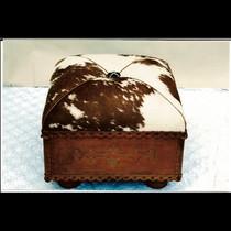 Custom leather ottoman