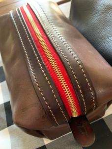 brown leather shaving kit