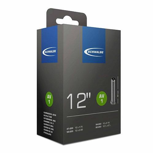 """AV1 12"""" x 1.75 Inner Tube: 40mm x 45 deg Schrader Valve"""