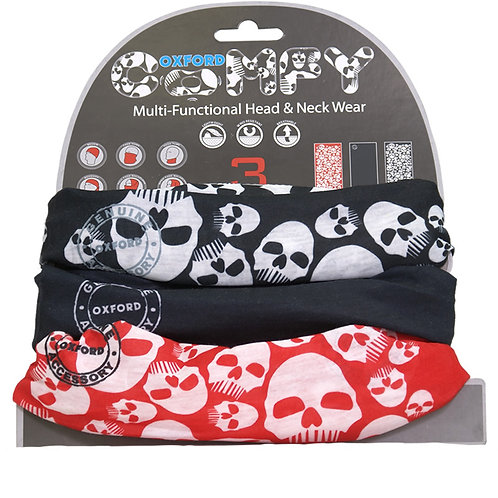 Oxford Comfy Multi-Functional Head and Neck Wear (3 Pack): Skulls