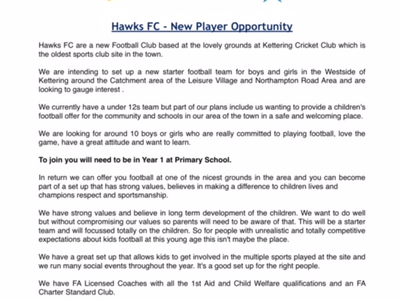 Are you in Year 1 at Primary School and looking to join a Football Club ?