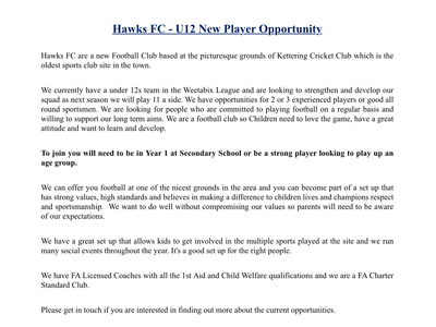 Under 12s - New Player Opportunity