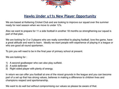 We are looking for New Players
