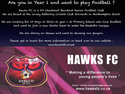 Hawks FC - Are you in Year One at Primary and want to play Footie?