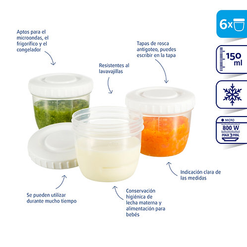 Set de contenedores de comida bebe 6pcs