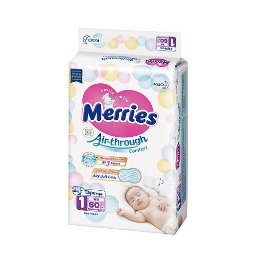 Merries Velcro Talla: NB – 60 pcs (Desde Rn Hasta 5 Kg)