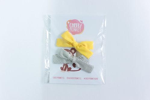 Pack de lazos amarillo y puntitos